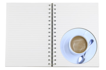 Notebooks, coffee mugs  isolated on white.