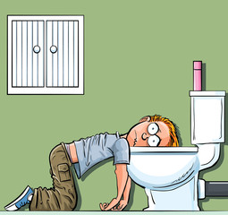 Cartoon teen boy sick in the toilet. Wishing he was dead