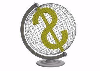 Globus mit Dollarzeichen