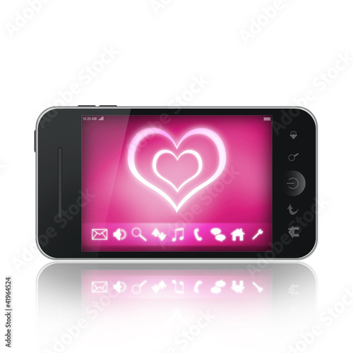 Mobile phone with pink love wallpaper on a display