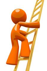 Orange Man Climbing Gold Corporate Ladder