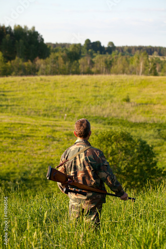 hunter in fields