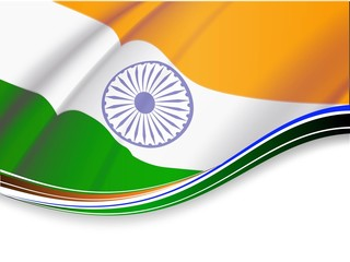 Vector illustration of Indian tricolor flag.