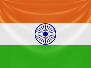 Illustration of tricolor Indian flag made of curtain draper