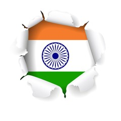 Creative style indian flag vector design with torn paper effect.