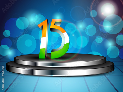 Vector illustration of 3d stage with 3d text of 15