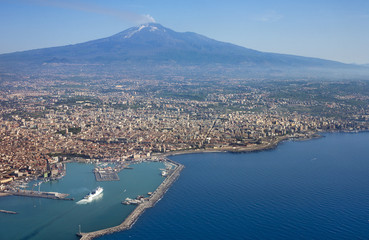Air photo of Catania city in Sicily