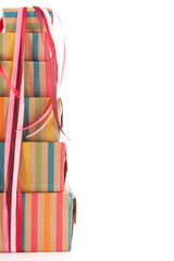 Colorful wrapped presents and copy space