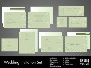 A complete wedding invitation kit.