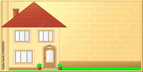 visiting background with cottage and bricks wall