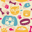 bright seamless pattern with funny cat and dog