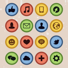 Set of social media badges in vintage style -