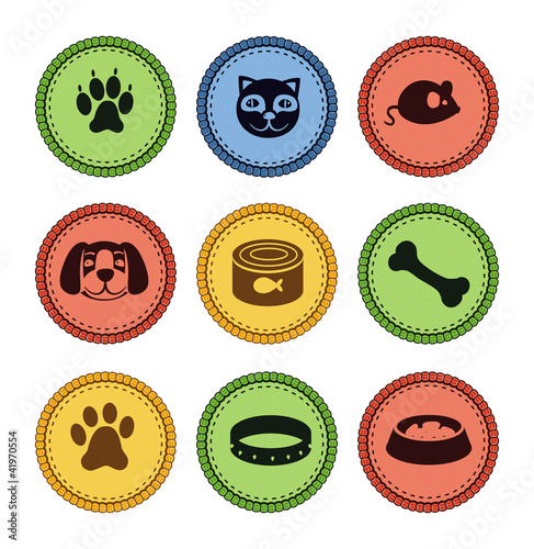 set of cat and dog  icons in retro style