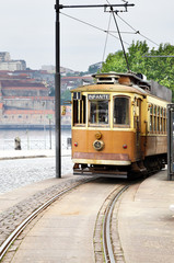 Old yellow tram