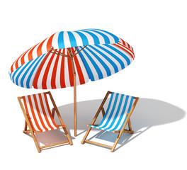 Beach umbrellas and sunbeds