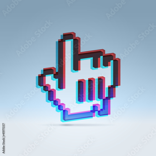 3d stereo effect hand icon