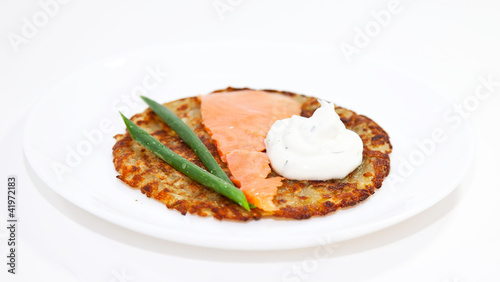 Rosti with salmon and sour cream
