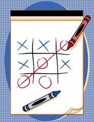Win!  Tic Tack Toe Game, drawing paper tablet, crayons