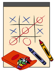 Win!  Tic Tack Toe Game, drawing paper tablet, box of crayons
