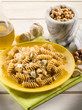 fusilli with hazelnut  pesto and garlic