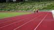 Couple jogging stadium