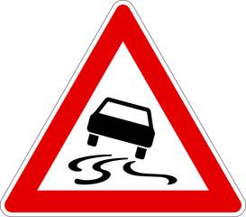 Verkehrszeichen 114 Schleudergefahr bei Nässe oder Schmutz