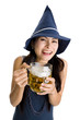 woman with beer laughing