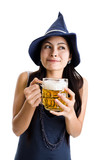 woman with  draft beer