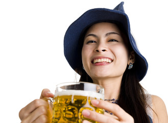 beautiful asian with hat and beer