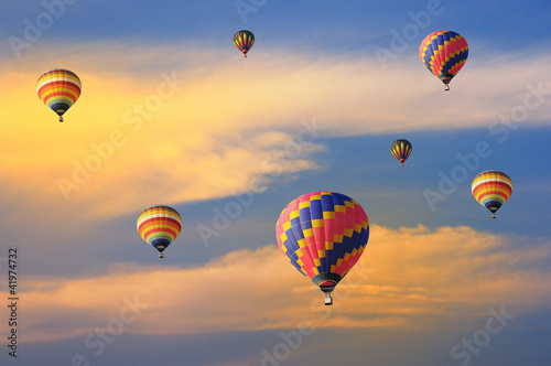 Deurstickers Ballon Colorful balloons with dramatic sky