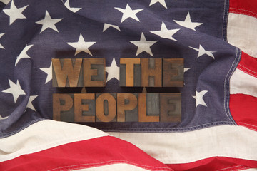 American flag with the words We the people