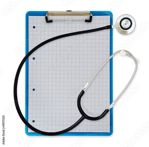 stethoscope clipboard white background