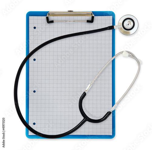 stethoscope clipboard white background