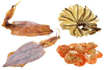 Sun Dried seafood: Shrimps, Fish, cuttlefish, Splendid Squid