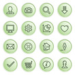 Basic contour icons.  Green series.