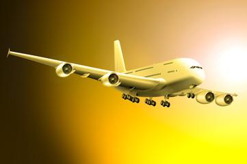 Jumbo-Jet am Abendhimmel
