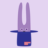 Bunny sitting in hat with American flag on it