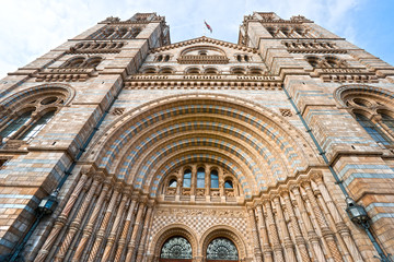Facade of Natural History Museum, London.