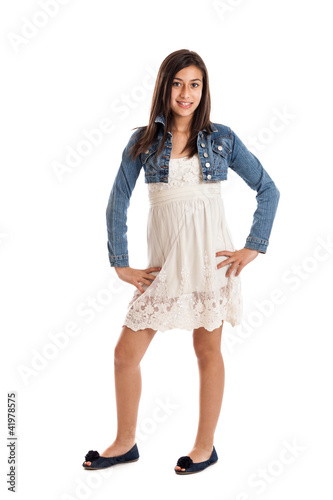 Preteen girl portrait isolated on white