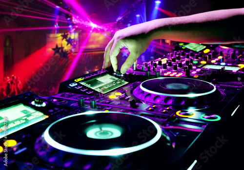 canvas print picture Dj mixes the track
