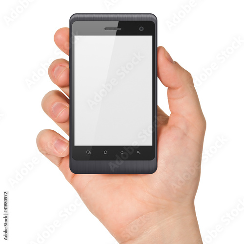 Hand holding smartphone on white background. Generic mobile smar