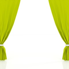 green curtains isolated in white