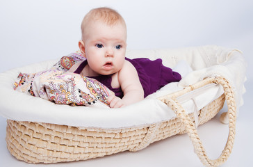 cute little baby fashion lies in the basket