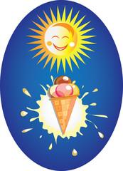 мороженное, молочная клякса и веселое солнце