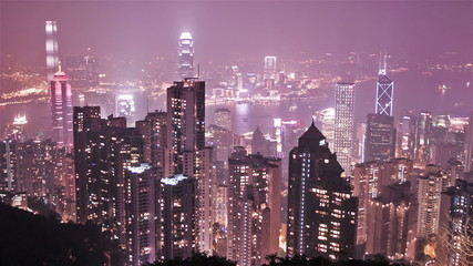 skyline of Hong Kong city from victoria peak. time lapse