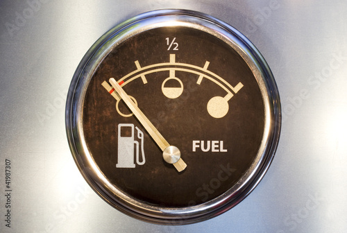 Fuel gauge showing empty