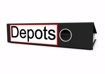 """Liegender Aktenordner mit der Aufschrift """"Depots"""""""