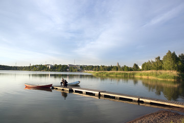 Quiet Summer evening in Töölönlahti bay, Helsinki