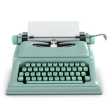 3d Typewriter with blank paper Front View