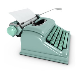 3d Typewriter with blank paper Side view